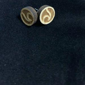 Wooden beach wave earrings